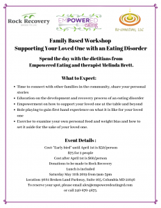 Family Based Workshop: Supporting Your Loved One with an Eating Disorder
